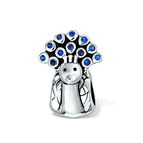 Forma Pavone Uccello Blu Royal Cubic Zirconia Cordone CZ Fascino Ossidato Argento 925 Per Bracciale Europea Per Donne