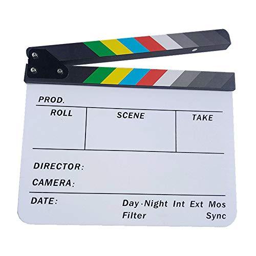 DAYOLY White Film Clapboard, Acryl Directeur Film Film Cut Clapboard Clapper Board Slate Magnetische Kleurrijke Strip