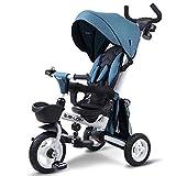 TRICYCLE Triciclo para niños 4 en 1 bebé Trike Triciclo Plegable con manija de Empuje/Embrague de Rueda/Asiento Giratorio y reclinable,Blue-106 * 51 * 61cm