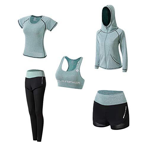 Yoga Kleidung Anzug 5er-Set Trainingsanzug Laufbekleidung Gym Fitness Kleidung (Grün, M)