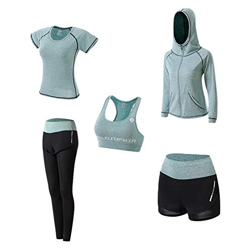 Ropa Deportiva Mujer, 5set Traje Camiseta para Deporte Yoga Gimnasia Sports Incluye Manga Larga y Corta, Pantalón, Sujetador, Suave Transpirable Cómodo (Verde, M)