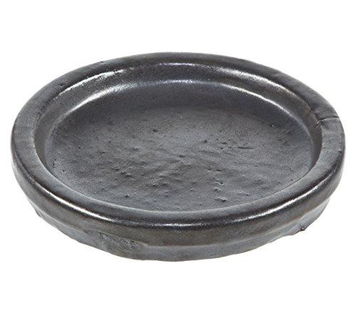 Dehner Blumentopf-Untersetzer, Ø ca. 31 cm, Höhe ca. 4 cm, Keramik, glasiert, dunkelgrau