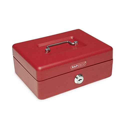 Rapesco money - Caja fuerte portátil de 20 cm de ancho con portamonedas interior, color rojo
