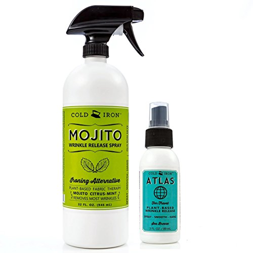 Cold Iron Wrinkle Release Spray for Clothes. 32 fl oz. Citrus Mint & Atlas Travel Size 3 fl oz Sea Breeze. Fast, Easy to Use Ironing Alternative. Spray, Smooth, Hang. Award Winning