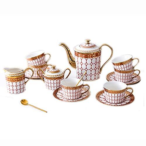 Teekanne Japanisch, Porzellan-Tee setzt britische Royal-Serie Keramik-Tee-Service von 6 Kaffeetassen und Untertassen Teekanne Sugar Bowl-Creme-Pitcher-Kaffee-Löffel für Tee-Kaffee, blaue Tee-Set (Farb