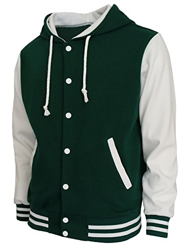 BCPOLO Hoodie Baseball Jacket Varsity Baseball Jacket Cotton Letterman Jacket Green-White-M