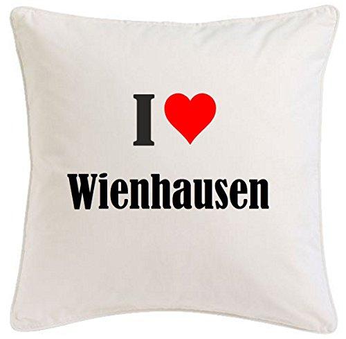 """Kissenbezug """"I Love Wienhausen"""" 40cmx40cm aus Mikrofaser ... ideales Geschenk und geschmackvolle Dekoration für jedes Wohnzimmer oder Schlafzimmer in Weiß mit Reißverschluss"""