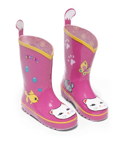 Kidorable Baby Girls Lucky Cat Rain Boot (Toddler/Little Kid), Pink, 1 Infant