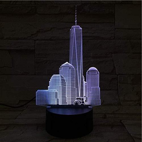 3D veilleuse LED illusion lampe7 couleurs USB noir tactile World Trade Center bébé Famou