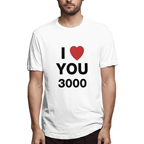 Camisetas Hombre riou Camisas de Manga Corta con Cuello Redondo y Estampado I Love You Three Thousand 3000 Love You Dad Ironman Heart Fans Shirt S-XXXL