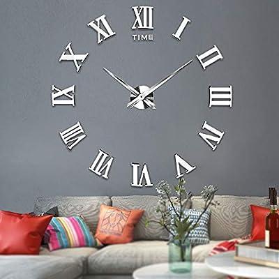 Vangold Large 3D DIY Wall Clock Roman Numerals Clock Frameless Mirror Surface Wall Clock Home Decor for Living Room Bedroom