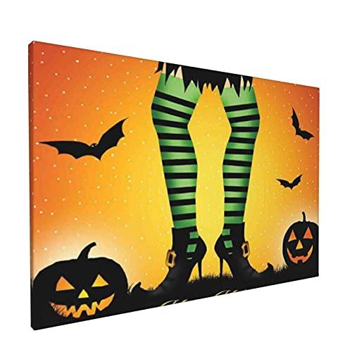 PATINISA Cuadro en Lienzo,Dibujos animados de Halloween Piernas de bruja con polainas a rayas Concepto occidental Murciélagos y calabazas Estampado,Impresión Artística Imagen Gráfica Decoracio