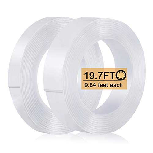 Nano Double Sided Tape (2 Rolls, 19.7FT), Heavy Duty Wall Tape Adhesive Strips Removable Mounting Tape, Washable Strong Sticky Transparent Tape Gel Poster Carpet Tape for Hang Picture, Home Office Use