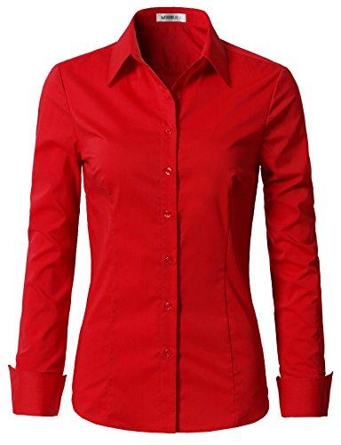 Doublju Womens Formal Work Wear Simple Button Down Shirt Red L