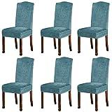 KELUINA Fundas de Felpa de Terciopelo para sillas de Comedor, Fundas para sillas elásticas, tronas de Spandex, Fundas Protectoras con elástico para Comedor (Azul Crepúsculo, 6 Piezas (M))