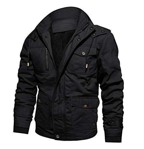 Lentta Men's Casual Slim Lightweight Softshell Zipper Windbreakers Bomber Jacket (XX-Large, Black)
