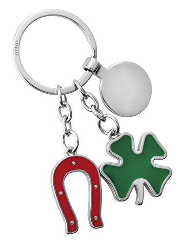 Ten Vierblättriges Kleeblatt Keychain grünes rotes Hufeisen mit glücklichem Zeichen cod.EL7063 cm 9x3,5x0,4h by Varotto & Co.