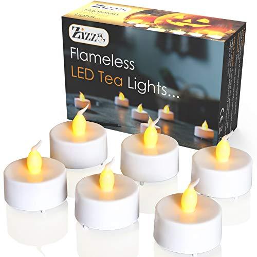Zizz 24-7 Lumini LED Senza Fiamma Tea Light - Candele Bianche a Batteria con tremolio Realistico di Fiamma ambrata – Perfette per San Valentino, Halloween, Natale, Compleanni, Anniversario