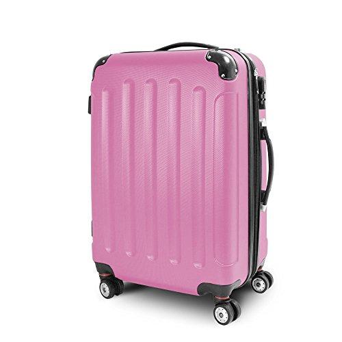 BERWIN® Trolley Reisekoffer Reisetasche Gepäcktasche Größe L Stripes Farbe Rosa