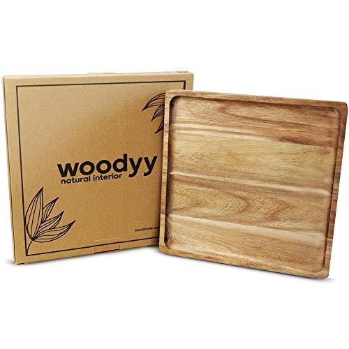 Woodyy Holz Deko Tablett – 25x25 cm – Holztablett rechteckig aus Akazienholz – geeignet als Deko Schale, Serviertablett & Kerzentablett