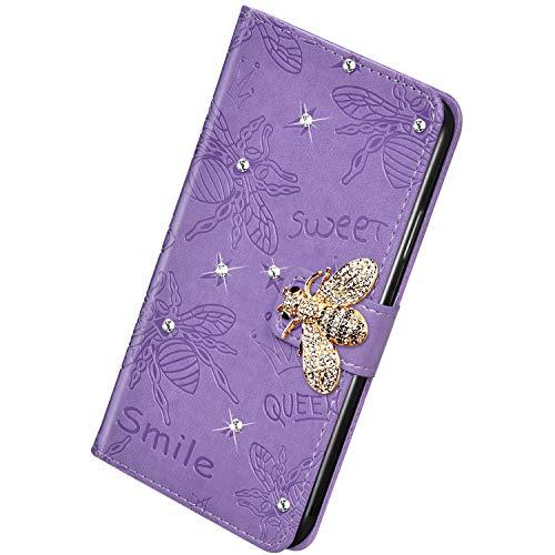Herbests Kompatibel mit Huawei P30 Pro Handyhülle Leder Klapphülle Glitzer 3D Bling Strass Diamant Biene Blumen Schutzhülle Flip Cover Brieftasche Leder Hülle mit Standfunktion,Lila