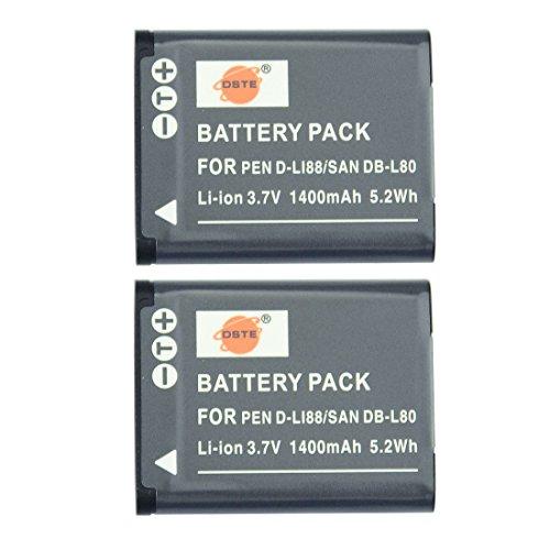 DSTE 2-Pack Ersatz Batterie Akku for Pentax D-LI88 Optio H90 P70 P80 W90 WS80 TOSHIBA PX1686 PX1686E-1BRS SANYO Xacti DMX-CG10 DMX-CG100 DMX-CG11 DMX-CG110 DMX-CG11D DMX-CG11G DMX-CG11WDMX-CS1 DMX-GH1 VPC-CA100 VPC-CA102 Kamera