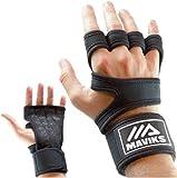 MAVIKS Gants noir Crossfit Gant de musculation d'entraînement Gants de gymnastique Poignées Gym de fitness avec poignet anti-dérapant pour homme Femme Tractions, Haltérophilie, Calisthéniques (M)