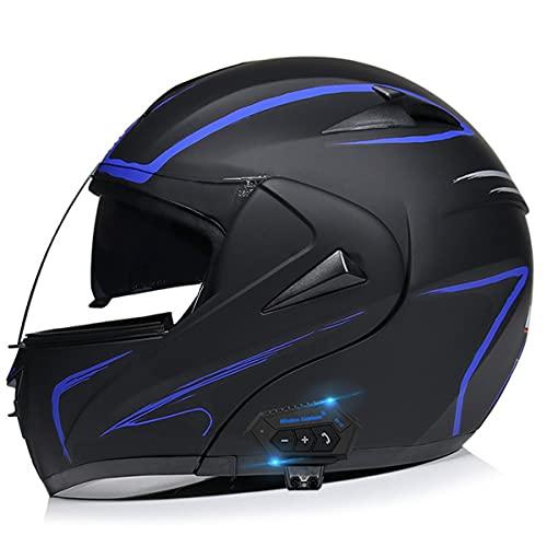 GGXX Casco de moto Bluetooth DOT homologado ECE, intercomunicador Bluetooth integrado, casco integral para moto, impermeable, casco modular Bluetooth con doble visera