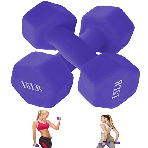 Sihand Barbell Neoprene Coated Dumbbell Weights for Powerwalks, Group Exercises, Bodybuilding, Strengthening Muscles, Multiple Weight Options (6LBS /8LBS /10LBS /12LBS /15LBS) (15LBS x 2 PCS, Purple)