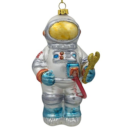 BestPysanky Astronaut in Open Space Glass Christmas Ornament 5 Inches