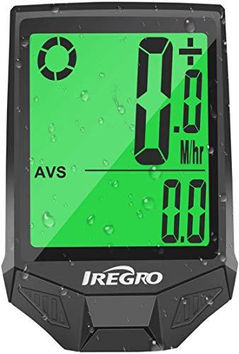 IREGRO Computer da Bicicletta, Grande Display Digitale LCD Contachilometri Bici Impermeabile Computer per Bici, 18 Funzioni per Riconoscere la velocità e la Distanza Attuali in Tempo Reale