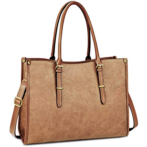 Laptop Bag for Women 15.6 Inch Waterproof Lightweight Leather Laptop Tote Bag Womens Professional Business Office Work Bag Briefcase Large Computer Bag Shoulder Handbag Brown