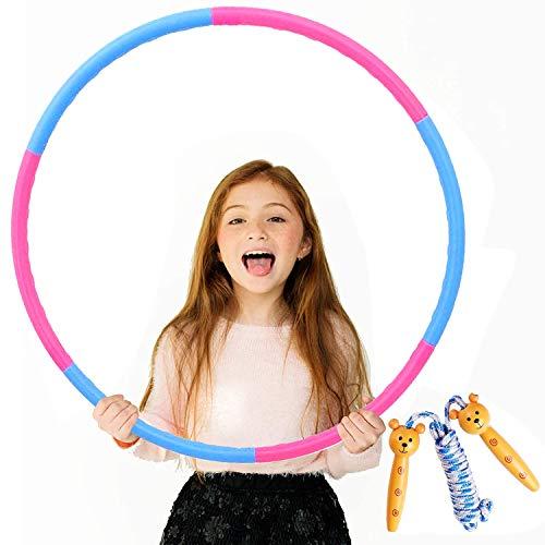 Bojoncka Hula-Hoop-Reifen und Springseil für Kinder, großer Hula-Ring für Sport, Seilspringen, trennbares Design (6 Stück)