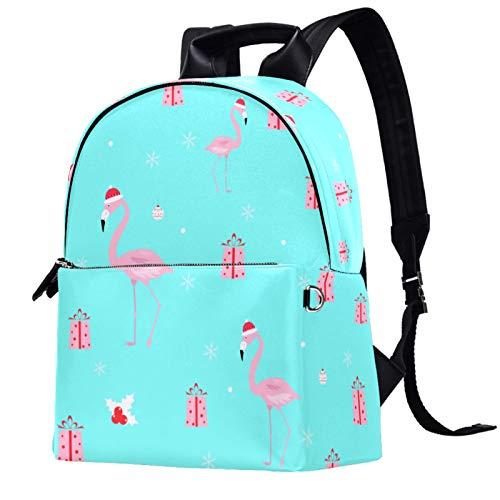 Leather Backpack Lightweight Travel Daypack Student Backpack - School, Travel, or Work Bookbag ,Flamingo Pink Gift Blue Color