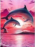 Kit de pintura por números para adultos y niños principiantes, kits de pintura al óleo, regalos de cumpleaños, decoración de pared M-Dolphins madre y niño 445