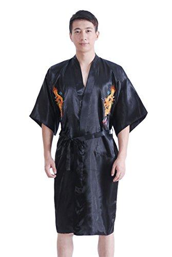 JTC Homme Vêtement de Nuit Peignoirs de Bain Robe de Chambre Dragon Brodé Chinois Avec Ceinture