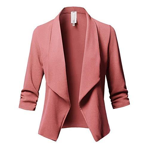 HOSD Blazer da Donna in Solido Cardigan Cappotto Manica Lunga da Donna Giacche e Giacconi Increspato Asimmetrico Abito da Uomo Casual Capispalla