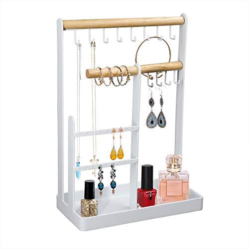 Qulable Organizador de almacenamiento de joyería, organizador de joyería de hierro forjado de madera, soporte de exhibición para el hogar, colgante estante