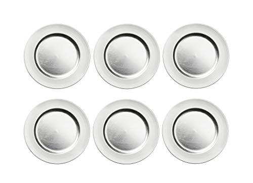 BigDean 6er Set Platzteller Dekoteller Kunststoff 33 cm Silber - 6 Teller im Pack Used Look