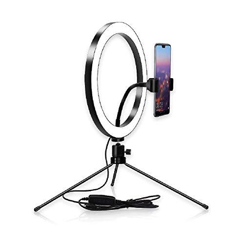 JIAWEI Led-ringlamp, dimbaar make-uplicht, met metalen statief en dimschakelaar, voor YouTube-video's, live en fotoshootings