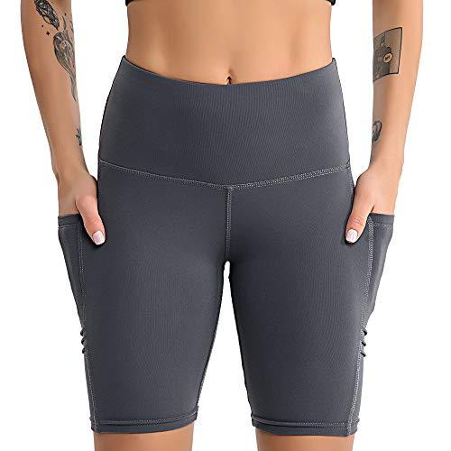 YLBH Yoga Kleidung Weiblich Yoga FüNf-Punkt-Hosen Sport Fitness Seite Handy Tasche Fitness Shorts Weiblich Atmungsaktiv Jogginghose Dehnbar Trainingshose Grau M