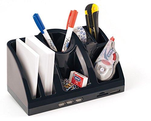 Bureau-organizer opbergsysteem met USB-hub en kaartlezer zwart