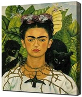 Lilarama Frida Kahlo - Self Portrait with Necklace of Thorns Framed Canvas Art Print Reproduction