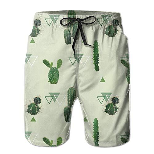 Zhengzho Herren Badehose Kaktus Pflanzenmuster Exotische Tropische Surf Beach Beach Shorts Badebekleidung