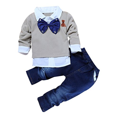 Bekleidung Longra 2016 Jungen Mädchen Kinder Kleidung Baby solid Langarm T-Shirt Top +Jeanshosen Set Freizeit Junge Mädchen Outfits (100CM)