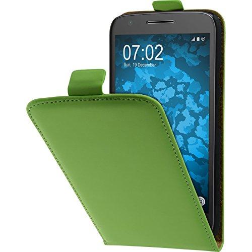 PhoneNatic Kunst-Lederhülle kompatibel mit Lenovo Moto E3 - Flip-Case grün + 2 Schutzfolien