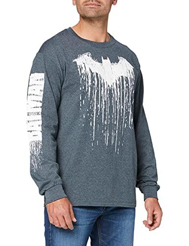 dc comics Batman Paint T-Shirt Manches Longues, Gris foncé chiné, XXL Homme