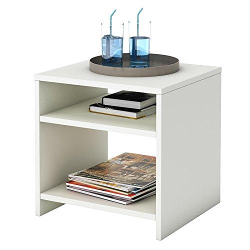 CARO-Möbel Nachttisch Nachtschrank Beistelltisch ALMERIA in weiß, mit 2 offenen Fächern