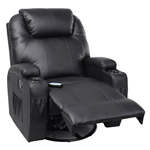TANGKULA Pu Leather Ergonomic Heated Massage Recliner Sofa Chair Deluxe Lounge Executive w/Control (Black)