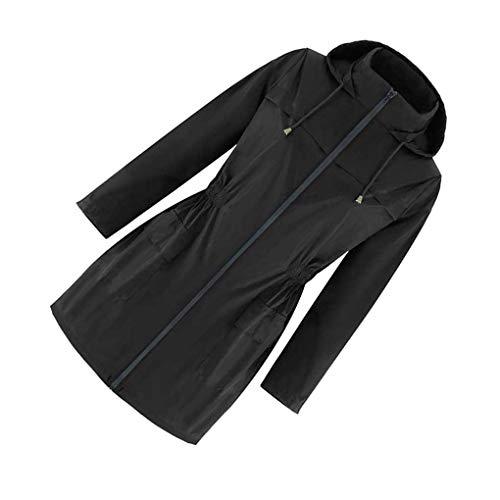 Las Mujeres Muchachas de los Deportes al Aire Libre de la Chaqueta de Las Mujeres Capa Impermeable al Aire Libre a Prueba de Viento Ropa de Abrigo, Negro, XL